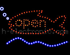 LED Reklame Open Fishing neon geöffnet Blink schild Hell Angel Fischerei angling