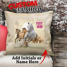 Personalised Galloping Horses Vintage Cushion Custom Canvas Cover Gift NC156