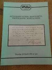 PHILLIPS AUCTION CATALOGUE Autograph Letters Manuscripts Photographs Books Maps