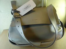 LIA NUMA Gray Leather Hobo Shoulder Bag Made in ITALY