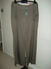 LAURA ASHLEY... KHAKI GREEN STYLISH PURE COTTON TROUSERS SZ UK 12 BNWT