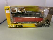 JADA 1/24 DUB CITY OLD SKOOL RED AND BLACK 1962 VW BUS WITH WHITEWALL TIRES NEW