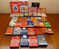 Vintage Lot/34 Playing Cards 1 Booklet 6 Sealed Old Maid Gypsy Witch Aviator VgC