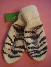 WOMENS KATE SPADE KNIT MITTENS SIBERIAN TIGER RARE NEW