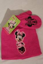 NEW Toddler Girls Beanie Hat Mittens 2 Pc Set Pink Disney Minnie Mouse Knit Cap