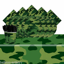 Army Forces Camouflage Children's Complete Birthday Party Tableware Pack For 16
