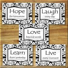 Black and White DAMASK Wall Art Decor Prints LIVE LAUGH LEARN LOVE Inspirational