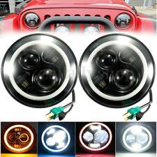"7"" Round Hi-Lo Beam Headlights Halo Angle Eyes For Jeep 97-15 Wrangler JK/TJ/LJ"