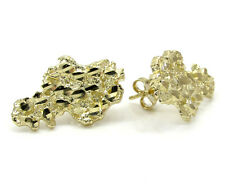 Mens 10Kt Yellow Gold Nugget Style Stud Earring