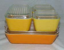 Pyrex DAISY ORANGE/YELLOW *8 PC REFRIGERATOR SET*