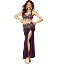 Belly Dance Costume Outfit Set Bra Top + Belt Hip Scarf professional Indian sets