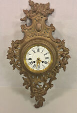 Antique Mougin Cartel Clock Dostal Bronze Case Running Porcelain Face
