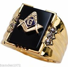 Onyx Masonic 6 stone MENS cz RING 18K yellow gold overlay size 12