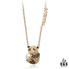 18K Gold Plated With Crystal And Pearl Panda Lady's Fashion Necklace