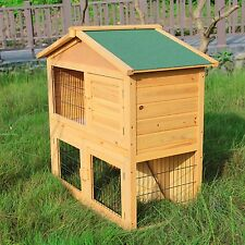 "40"" Wooden Rabbit Hutch Cage Chicken Coop Hen House Poultry Cage Pet Animal Run"