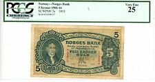 """Norway ... P-7a ... 5 Kroner ... 1915 ... *VF* ... Prefix """"E"""" ... PCGS 25"""