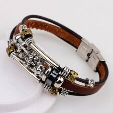 Leather Men Accessoires Tibetan Silver Male Bracelet Parataxis Dragon Multilayer
