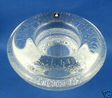 PUKEBERG CRYSTAL Sweden ICE BLOCK Art Glass Candle Holder Paper Weight- in Aust