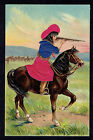 Cowgirl Wearing Silk Clothing On Horse~Shoots Gun~Embossed Silk Add On Postcard