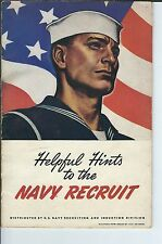 ME-110 - 1943 Helpful Hints to the Navy Recruit, Booklet, WWII Era Illustrated