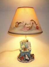 Vintage Playing Cats Lamp Resin Base Paper Shade Cats On Chair W/ Knitting Yarn