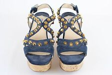 Prada Navy Suede Straps Sling Back Open Toe Cork Wedges Made in Italy Size 38.5