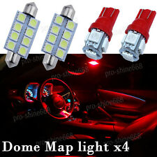 Hot Red LED Interior Light Bulb Package Combo for Map Dome Lamp T10 41MM 6411