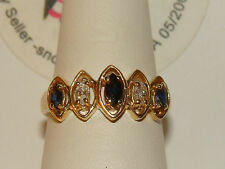 SALE! 14K SOLID YGOLD .50cts NATURAL Blue Sapphire Diamond Ring 3 Gms Sze 7