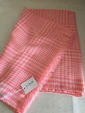 NEW J CREW Pink & White Houndstooth Print Silky Long Scarf Sarong Fringe $46 NWT