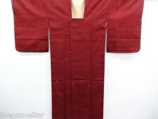 VINTAGE JAPANESE KIMONO, UNUSED RAIN COAT / WOVEN GRID, BLACK & RED, NICE CLOTH