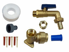 25mm MDPE Heavy Duty Lever Outside Tap Kit | Brass Wall Plate and Hose Fitting