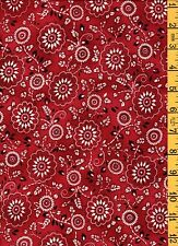 1 & 1/2 Yd Cotton Quilt Sew Fabric Maywood Cowboys & Indians Red Paisley Bandana