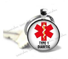 Type 1 Diabetic Medical Alert Key Chain Glass Top Charm Clip-on Key Ring