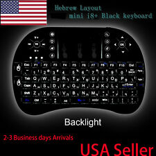 US Hebrew Layout Backlit mini i8+ wireless keyboard for smart TV Android BOX NEW
