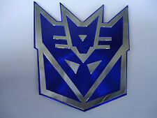 Car FENDER emblem TANK STICKER TRANSFORMERS Decepticon BLUE Reflective effect