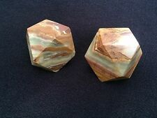 2 Vintage BROWN SLAG GREEN  Marble OYNX STONE ROCK  Paper Weight  DESK office