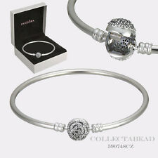 Authentic Pandora Disney Beauty & the Beast Silver Bangle Bracelet 7.5 590748CZ