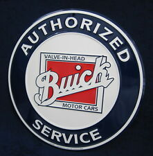 BUICK SERVICE Round Embossed Tin Metal Sign - Garage Shop  Man Cave Rec Game Rm