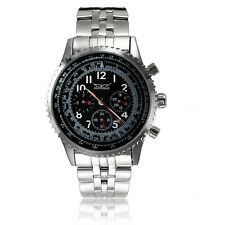 JARAGAR Stainless Steel Band Black Case Mechanical Wrist Watch