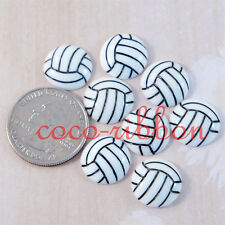 15mm 12pcs Volleyball Sport Ball Cheer Diy Deco Flatback Resin Cabochons