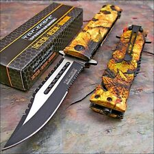 TAC FORCE Spring Assisted Open Sawback Bowie JUNGLE CAMO Tactical Pocket Knife