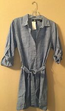 Shirt Dress M Mini 3/4 Sleeves Belted Top Tunic Casual Cotton Blue Women's