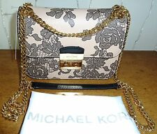 NWT Authentic MICHAEL Kors Sloan Editor Lace Medium Chain Shoulder Bag Oyster