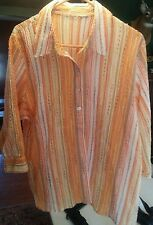 015 Orange Brown Multi Color Button Down Puffy Summer Beach Shirt