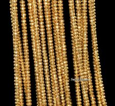 3MM GOLD HEMATITE GEMSTONE GOLD FACETED RONDELLE 3X2MM LOOSE BEADS 15.5""