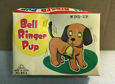 VINTAGE JAPAN BELL RINGER PUP TOY WINDUP