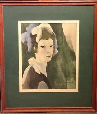 VINTAGE MARIE LAURENCIN LADY WITH HAT PRINT 1928