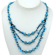 """Stunning 18"""" Blue Three Layer Simulated Turquoise Necklace with Lobster Clasp"""