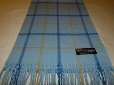 100% Cashmere Scarf Soft 72X12 Light Blue Camel Scotland Wool Check Plaid K33