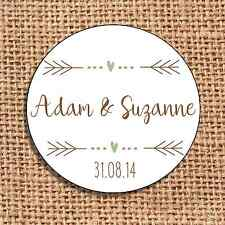 Wedding 24 favour stickers save the date personalised  rustic shabby chic d2
